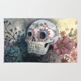 Sugar Skull with Flowers Rug