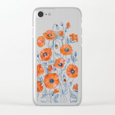 Red poppies in grey Clear iPhone Case