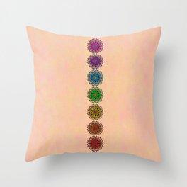 Colorful Rainbow Chakra Mandala , Yoga & Meditation Seven Sacred Mandalas Flower Painting Throw Pillow