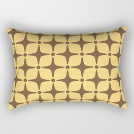Mid Century Modern Star Pattern Brown and Yellow Rectangular Pillow
