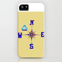 A Nautical Compass Rose with Ship iPhone Case
