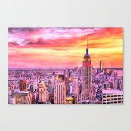 NYC Brooklyn New York City Manhattan Sunset Painting City Watercolor Skyline Art Print Decor Canvas Print