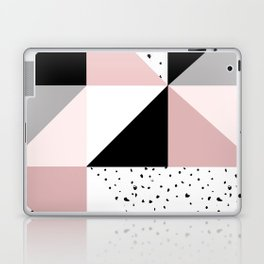 Geometrical pink black gray watercolor polka dots color block Laptop & iPad Skin