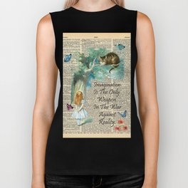Alice In Wonderland Quote - Imagination - Dictionary Page Biker Tank