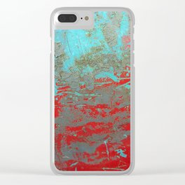texture - aqua and red paint Clear iPhone Case