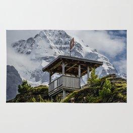 Swiss Observation Tower and Monch (Monk) Mountain - Lauterbrunnen Rug
