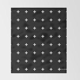 White Plus on Black /// www.pencilmeinstationery.com Throw Blanket