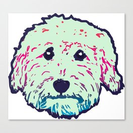 Sweet Goldedoodle dog in mint/navy Canvas Print