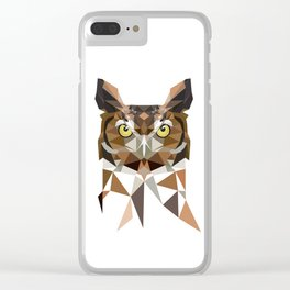 Geomeric owl artwork  Great horned owl Clear iPhone Case