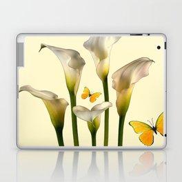 Ivory Calla Lilies Yellow Butterflies Laptop & iPad Skin