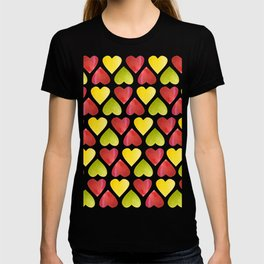 Apple colorful hearts pattern T-shirt