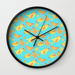 Yellow Chicks in Blue Wall Clock