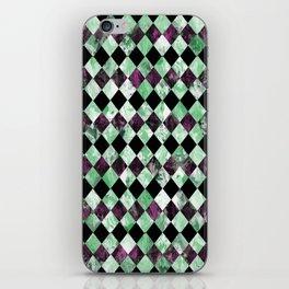 Diamond Pattern In Green, Black And Purple iPhone Skin