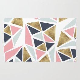 Modern geometrical pink navy blue gold triangles pattern Rug