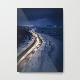 Boulevard in the night (Quebec, Saint Lawrence River) Metal Print