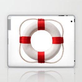 White-red lifebuoy, isolated on white background Laptop & iPad Skin