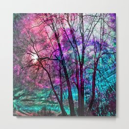 Purple teal forest Metal Print