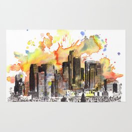 Los Angeles Cityscape Skyline Painting Rug
