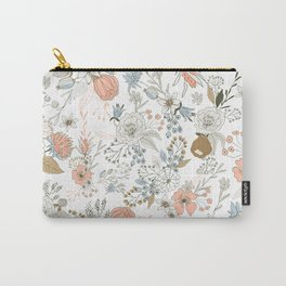 Abstract modern coral white pastel rustic floral Carry-All Pouch
