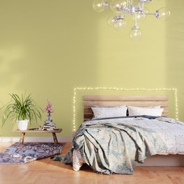 Buttermilk Yellow with White Polka Dots Wallpaper