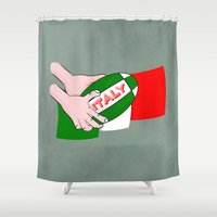 rugby Shower Curtains featuring Rugby Italy by mailboxdisco