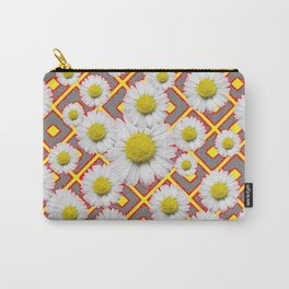 Shasta Daisies Red Pattern Art Grey abstract Carry-All Pouch