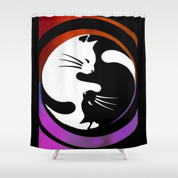Black U0026 White Yin Yang Cats Shower Curtain