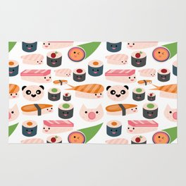 Kawaii sushi white Rug