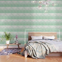 Marble and Geometric Diamond Drips, in Mint Wallpaper