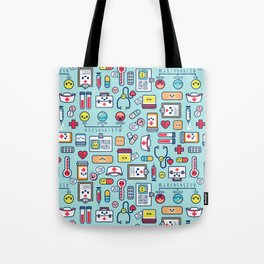 Proud To Be A Nurse Pattern Blue Tote Bag