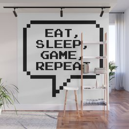 Eat Sleep Game Repeat Wall Mural