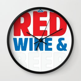 LAND OF THE RED WINE _ BEER T-SHIRT Wall Clock