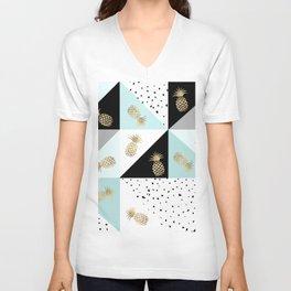 Pastel color block watercolor dots faux gold pineapple Unisex V-Neck
