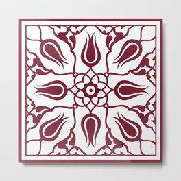 Red Turkish Traditional Floral Tile Art Metal Print