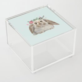 Spring Bunny with Floral Crown Acrylic Box
