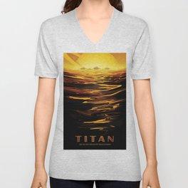 NASA Retro Space Travel Poster #12 - Titan Unisex V-Neck