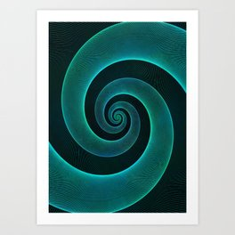 Magical Teal Green Spiral Design Art Print