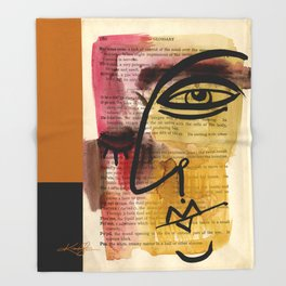 """Funky Face Abstract, """"I See 38"""" by Kathy morton Stanion Throw Blanket"""