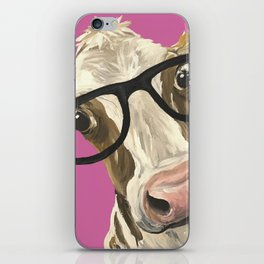 Pink Cow with glasses art, Cute Cow With Glasses iPhone Skin