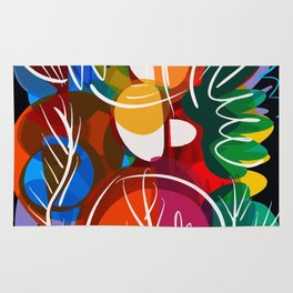 Abstract Flowers Pattern Red Green and Black art Rug