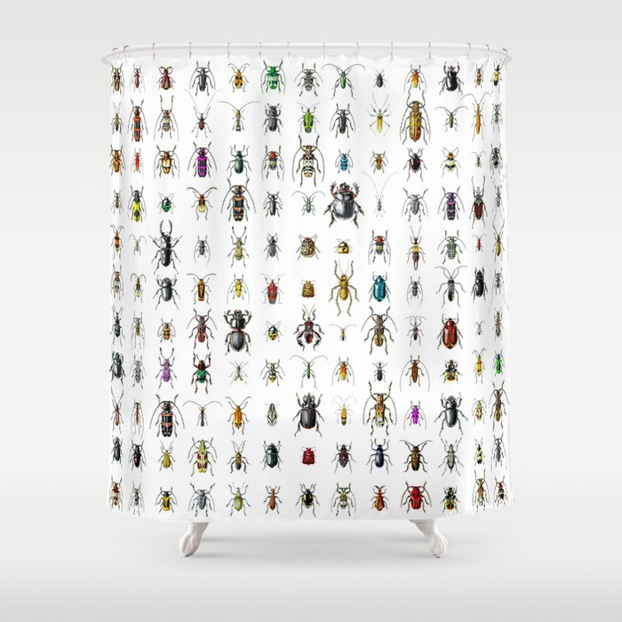 Beetlemania Get Your Entomology On Shower Curtain