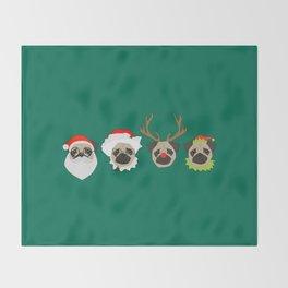 Christmas Pugs Throw Blanket