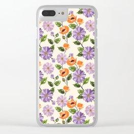 Rustic orange lavender ivory floral illustration Clear iPhone Case