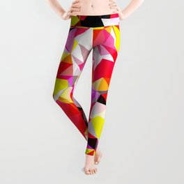 psychedelic geometric triangle polygon abstract pattern in red pink yellow Leggings
