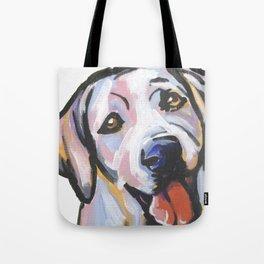 Yellow Lab Labrador Retriever Dog Portrait Pop Art painting by Lea Tote Bag