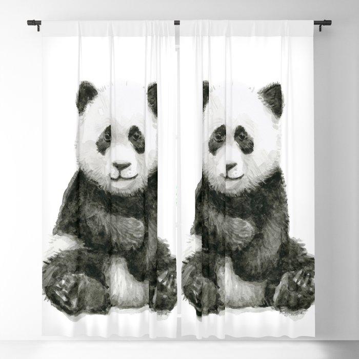 Baby Panda Watercolor Blackout Curtain