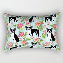 Boston Terrier florals tropical hawaiian print dog breeds custom dog art pet portraits Rectangular Pillow