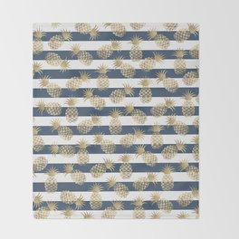 Modern nautical navy blue stripes faux gold pineapple Throw Blanket