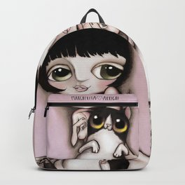 Love over Fear with Valentina Crepax with black and white cat Backpack