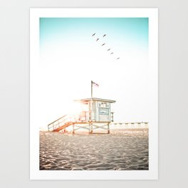 Pelicans Over the 10th Street Lifeguard Tower Art Print